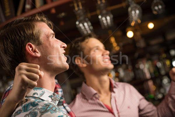 Portrait fans bar trois hommes stand Photo stock © adam121