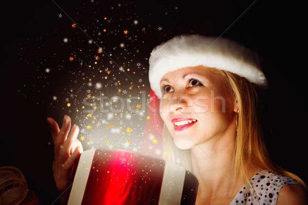 Christmas kobieta polu magic świetle cud Zdjęcia stock © adam121