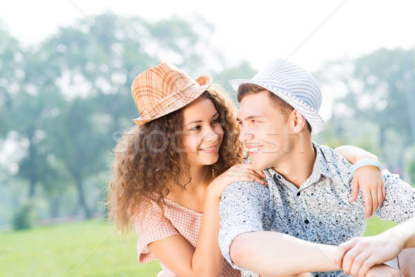 Para trawy lata parku romantyczny czasu Zdjęcia stock © adam121