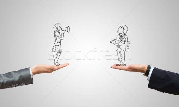 Caricatures of businessman and businesswoman Stock photo © adam121