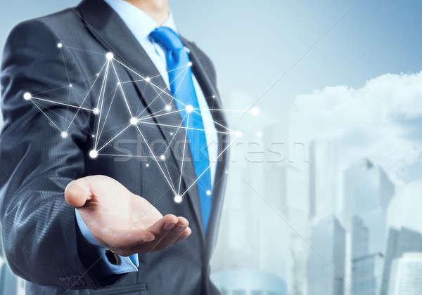 Bemutat kapcsolat kölcsönhatás üzletember kéz mutat Stock fotó © adam121