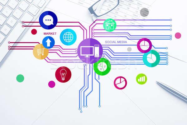 интерфейс дизайна мобильных веб применение набор Сток-фото © adam121