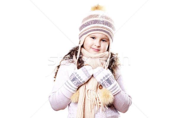 Winter Mädchen angenehm cap Handschuhe Mode Stock foto © adam121