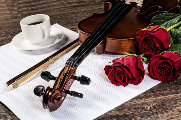 Violin, rose, coffee and music books Stock photo © adam121