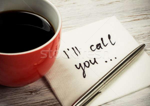 Mesaj yazılı peçete fincan kahve kâğıt Stok fotoğraf © adam121