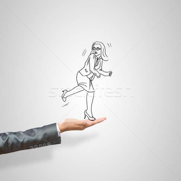 üzletasszony pálma rajzolt női szürke nő Stock fotó © adam121