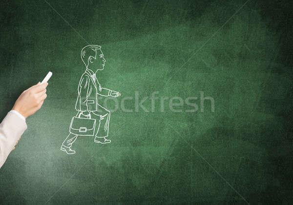 Piedi imprenditore femminile mano disegno gesso Foto d'archivio © adam121