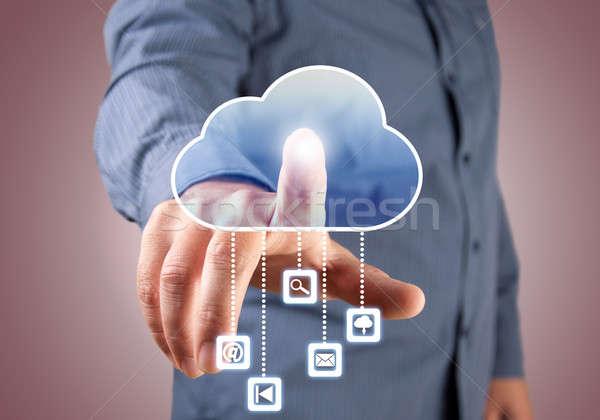 ストックフォト: コンピューティング · ビジネスマン · 触れる · 雲のアイコン · 指