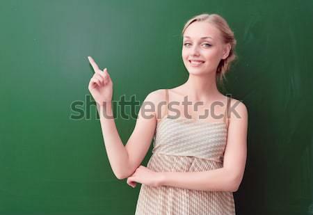 Foto stock: Professor · lousa · belo · jovem · em · pé · olhando
