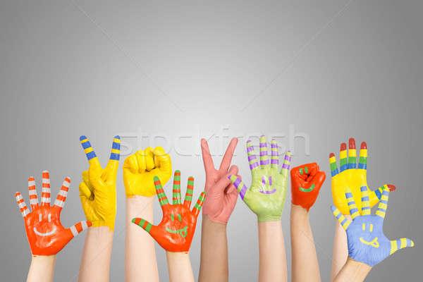 Stock photo: painted children's hands