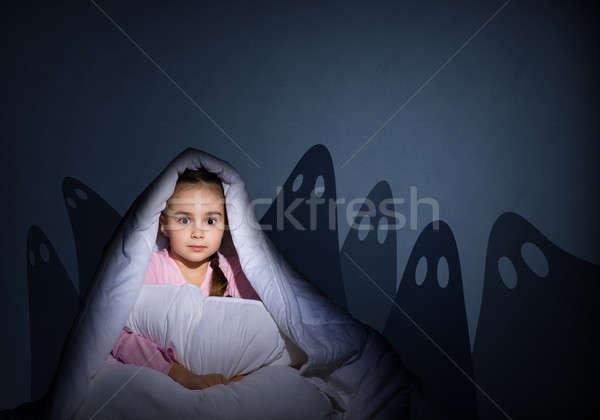 Stock fotó: Lány · elemlámpa · kép · éjszaka · félő · szellemek