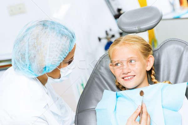 歯科 患者 かわいい 少女 座って ストックフォト © adam121