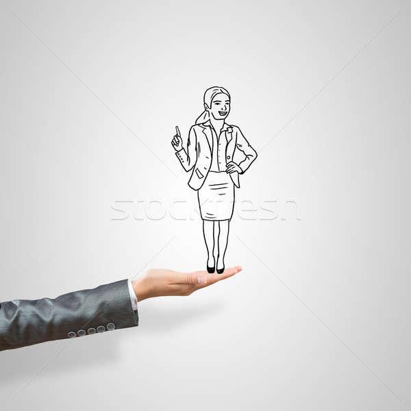 Mujer de negocios palma femenino gris mujer Foto stock © adam121