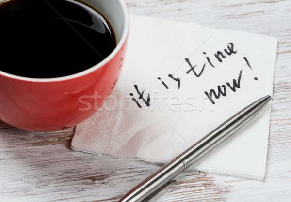 Bericht geschreven servet beker koffie papier Stockfoto © adam121