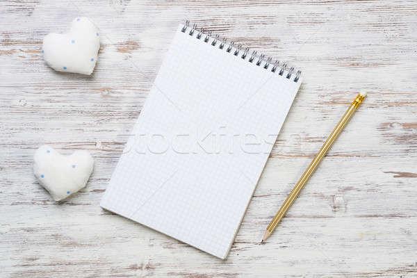 Liebe Nachricht Einladung Herzen Merkzettel Bleistift Stock foto © adam121