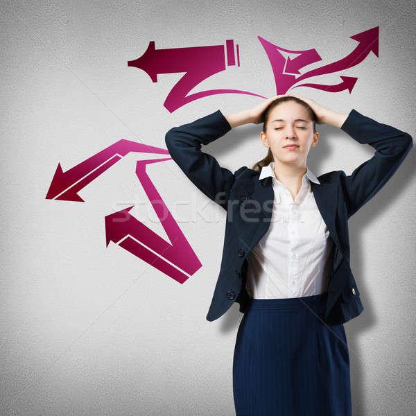 Empresária pensando algo seta pensamentos Foto stock © adam121