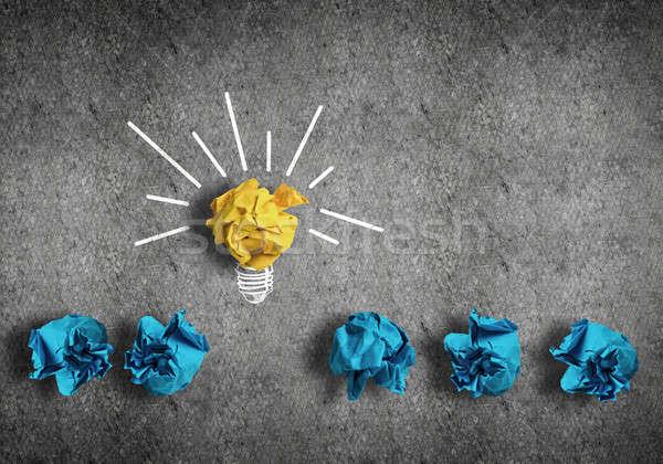 Keresés nagyszerű ötlet inspiráció papír villanykörte Stock fotó © adam121