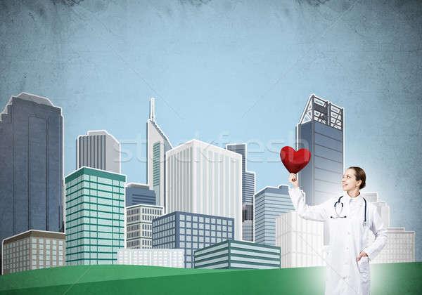 überprüfen Herz Gesundheit Arzt Illustration Stock foto © adam121