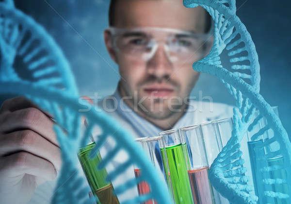 Genç bilim adamı cam klinik laboratuvar Stok fotoğraf © adam121