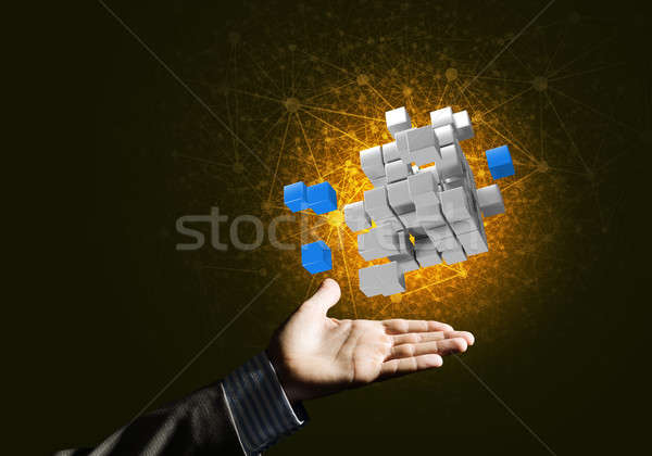 Idea of new technologies and integration presented by cube figure Stock photo © adam121
