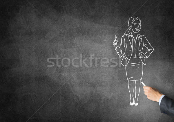 Caricatura imprenditrice maschio mano disegno gesso Foto d'archivio © adam121