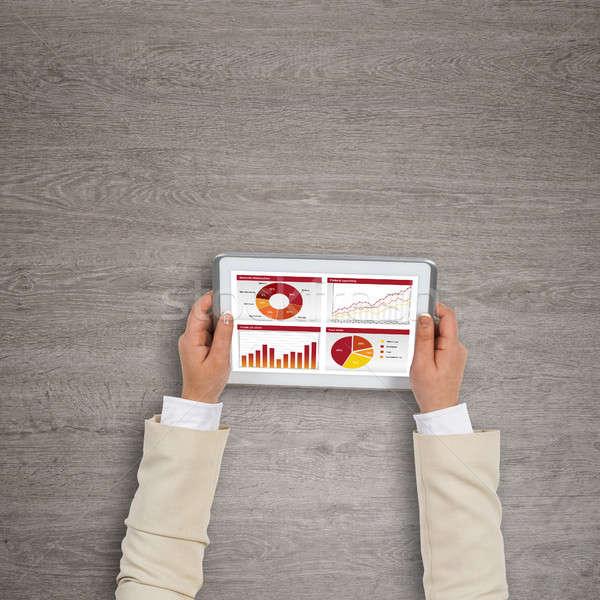 финансовых применение Top мнение деловая женщина рук Сток-фото © adam121