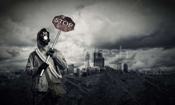 Apocalipse catástrofe máscara de gás pare alto Foto stock © adam121