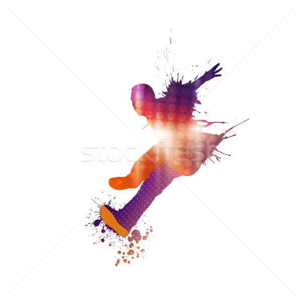 Dansçı siluet renkli dans kişi beyaz Stok fotoğraf © adam121