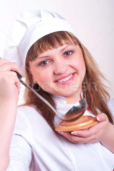 Portret dziewczyna chochla uśmiech kobieta Zdjęcia stock © adam121