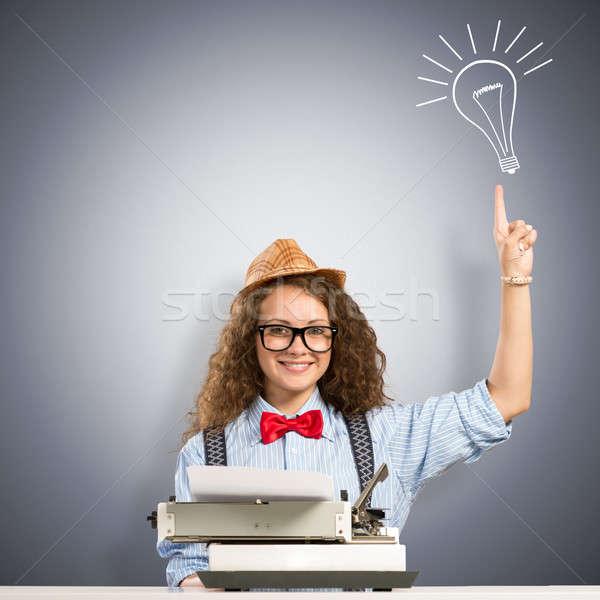 女性 ライター 画像 若い女性 表 タイプライター ストックフォト © adam121