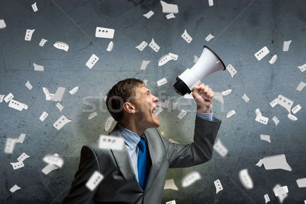 Agresivo gestión jóvenes empresario gritando hombre Foto stock © adam121