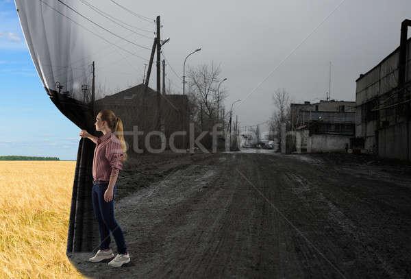 ストックフォト: 若い女性 · カーテン · 画像 · ルックス · フィールド