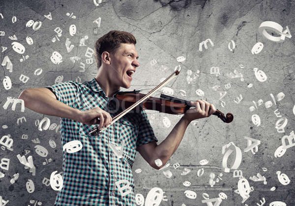 Stock fotó: Zenész · játszik · hegedű · fiatal · jóképű · fickó