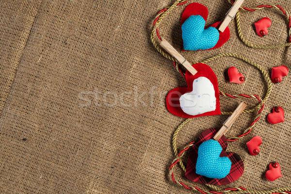 Doe het zelf briefkaart handgemaakt liefde harten bruin Stockfoto © adam121