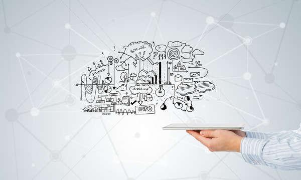 Stockfoto: Plan · elektronische · business · zakenman · hand