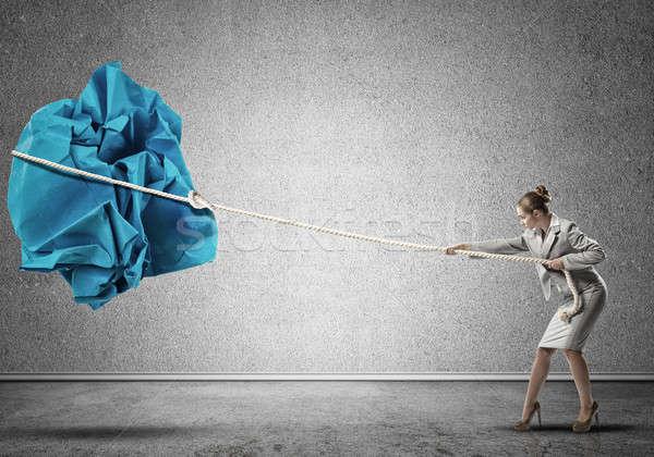 Kobieta wysiłek duży piłka papieru Zdjęcia stock © adam121
