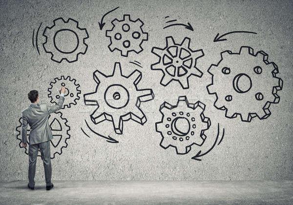 ビジネス 作業 メカニズム ビジネスマン 立って 戻る ストックフォト © adam121