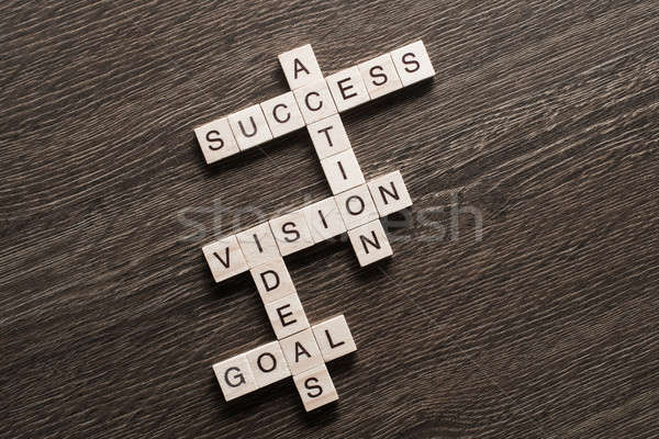 Success achieving business keywords collected of wooden cubes in crossword Stock photo © adam121