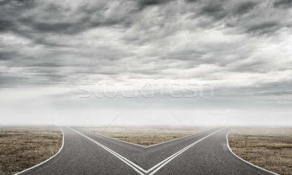 Asfalt afbeelding natuurlijke landschap weg Stockfoto © adam121