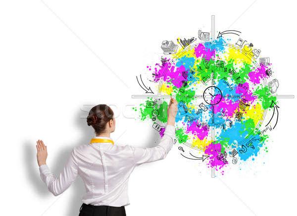 Foto stock: Negocios · planificación · vista · posterior · mujer · de · negocios · dibujo · ideas