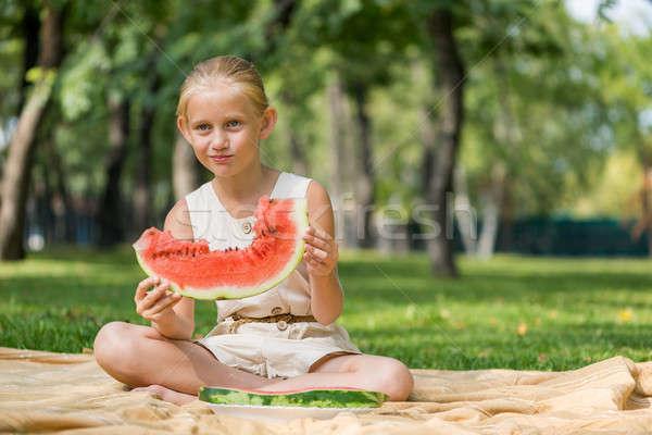 Stock photo: Kid with watermelon slice
