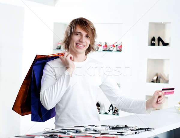 man at shopping checkout paying credit card Stock photo © adam121