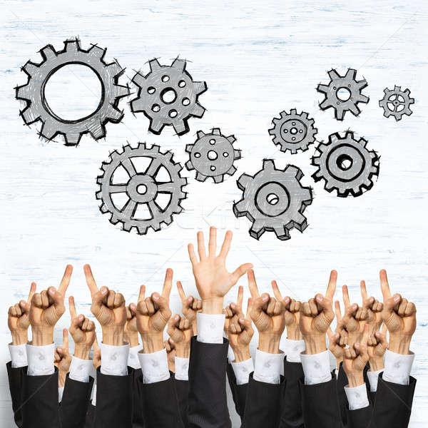 üzlet csapatmunka csoport kezek üzletemberek mutat Stock fotó © adam121