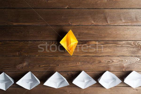 üzlet irányítás szett origami hajók fa asztal Stock fotó © adam121