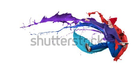 хип-хоп танцовщицы прыжки пространстве текста коллаж Сток-фото © adam121