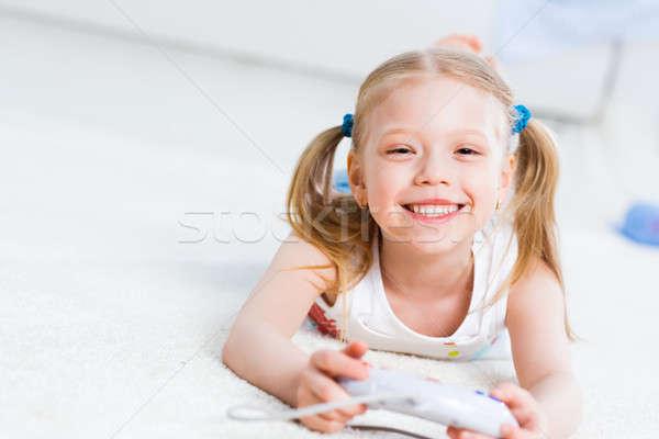 少女 演奏 ゲーム コンソール 幸せ 子 ストックフォト © adam121