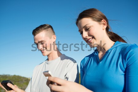 Reggel fut fiatal aktív pár kocogók Stock fotó © adam121