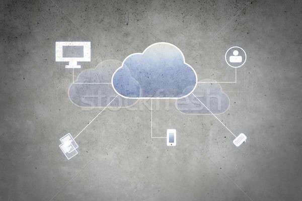 コンピューティング 雲 カラフル ビジネス アイコン セメント ストックフォト © adam121