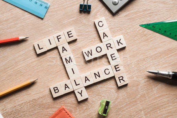 Words work life balance and family on table collected with wooden cubes Stock photo © adam121