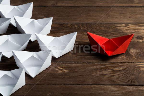 Negocios blanco color papel barcos Foto stock © adam121